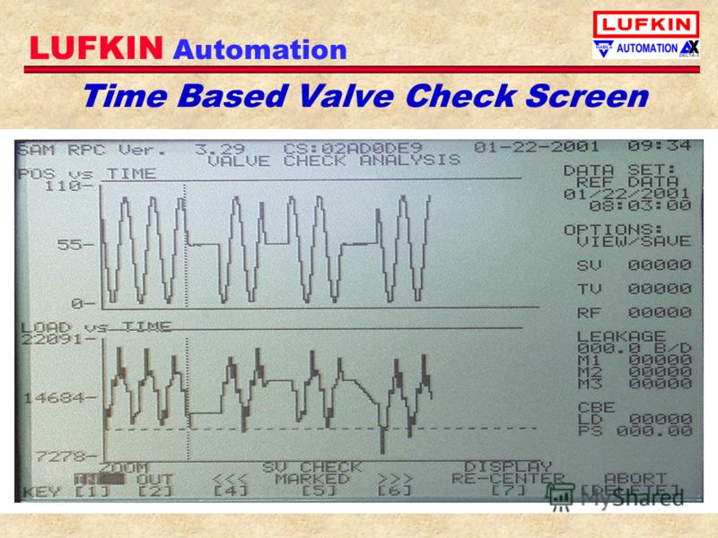 LUFKIN Automation Time Based Valve Check Screen
