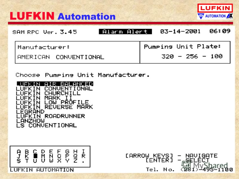LUFKIN Automation Built in SAM Database is very easy to use from keypay/display !
