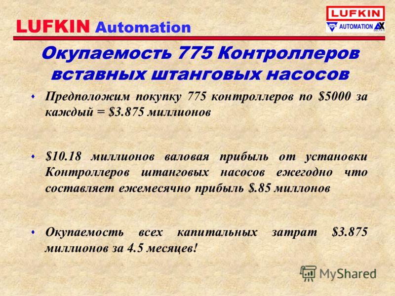 LUFKIN Automation Окупаемость 775 Контроллеров вставных штанговых насосов s Предположим покупку 775 контроллеров по $5000 за каждый = $3.875 миллионов s $10.18 миллионов валовая прибыль от установки Контроллеров штанговых насосов ежегодно что составл