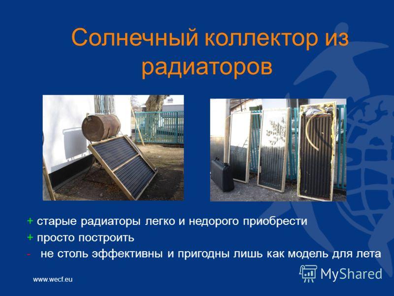 www.wecf.eu Солнечный коллектор из радиаторов + старые радиаторы легко и недорого приобрести + просто построить - не столь эффективны и пригодны лишь как модель для лета