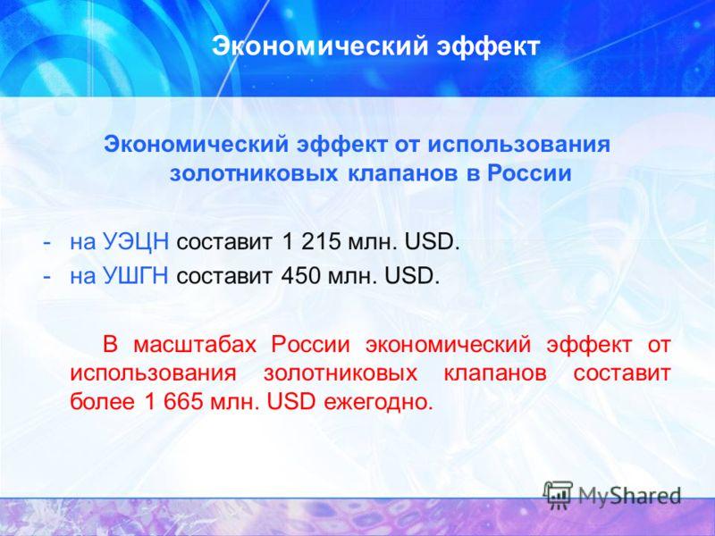 Экономический эффект Экономический эффект от использования золотниковых клапанов в России -на УЭЦН составит 1 215 млн. USD. -на УШГН составит 450 млн. USD. В масштабах России экономический эффект от использования золотниковых клапанов составит более