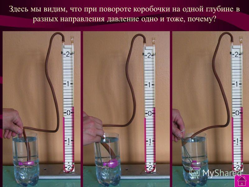 По мере погружения коробочки в воду давление на коробочку… Увеличивается! Почему? На сколько оно увеличилось?