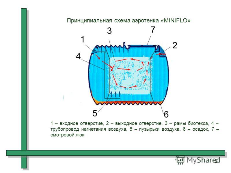 5 1 2 3 4 5 6 7 Принципиальная схема аэротенка «MINIFLO» 1 – входное отверстие, 2 – выходное отверстие, 3 – рамы биотекса, 4 – трубопровод нагнетания воздуха, 5 – пузырьки воздуха, 6 – осадок, 7 – смотровой люк