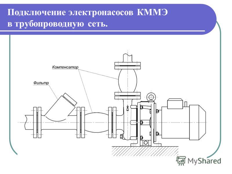 Подключение электронасосов КММЭ в трубопроводную сеть.