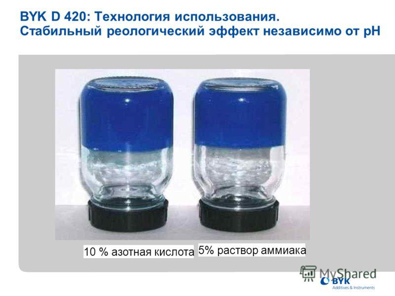 BYK D 420: Технология использования. Стабильный реологический эффект независимо от pH 10 % азотная кислота 5% раствор аммиака