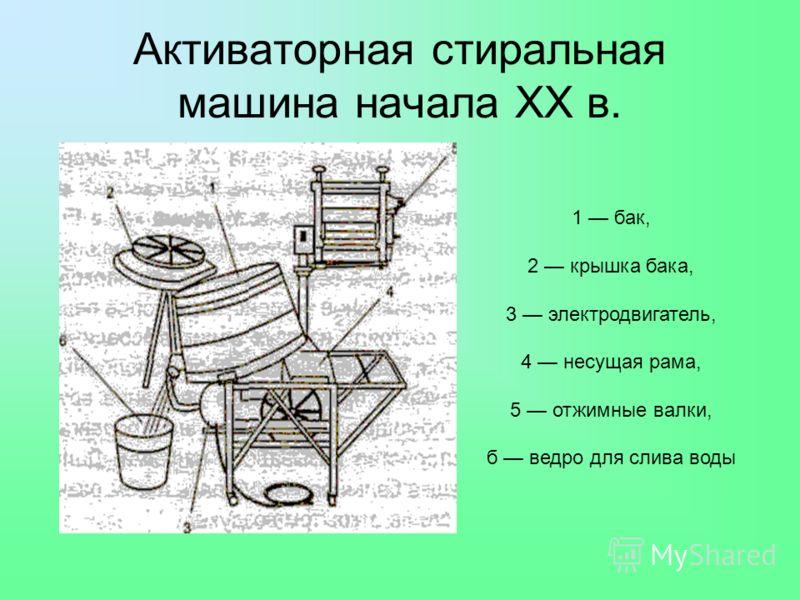 Активаторная стиральная машина начала XX в. 1 бак, 2 крышка бака, 3 электродвигатель, 4 несущая рама, 5 отжимные валки, б ведро для слива воды