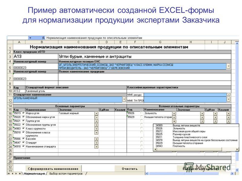 Пример автоматически созданной EXCEL-формы для нормализации продукции экспертами Заказчика