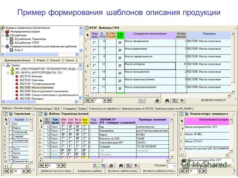 Пример формирования шаблонов описания продукции