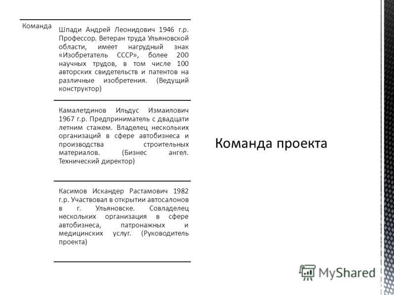 Команда Шпади Андрей Леонидович 1946 г.р. Профессор. Ветеран труда Ульяновской области, имеет нагрудный знак «Изобретатель СССР», более 200 научных трудов, в том числе 100 авторских свидетельств и патентов на различные изобретения. (Ведущий конструкт