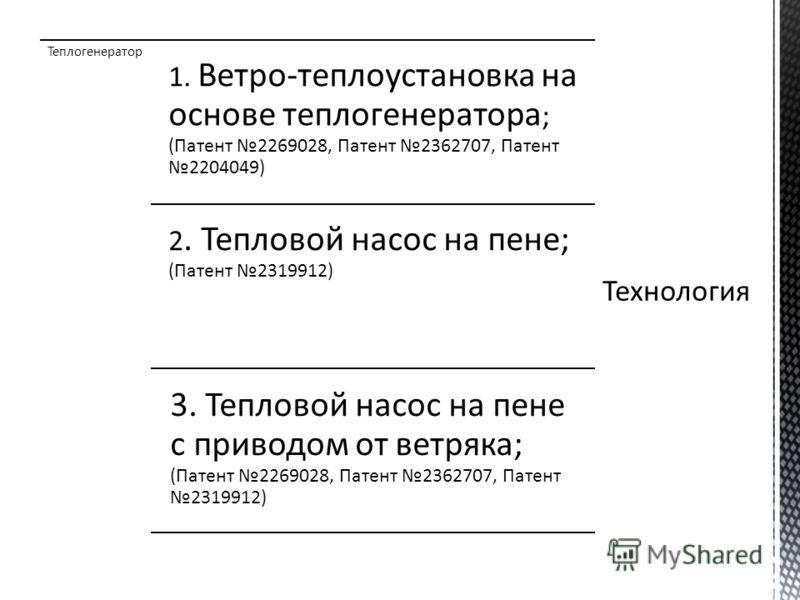 Теплогенератор 1. Ветро-теплоустановка на основе теплогенератора ; (Патент 2269028, Патент 2362707, Патент 2204049) 2. Тепловой насос на пене; (Патент 2319912) 3. Тепловой насос на пене с приводом от ветряка; (Патент 2269028, Патент 2362707, Патент 2