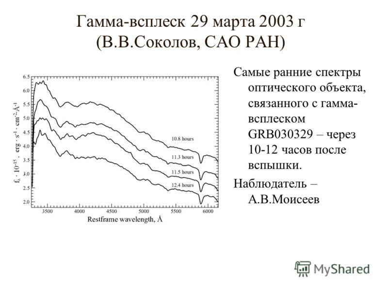 Гамма-всплеск 29 марта 2003 г (В.В.Соколов, САО РАН) Самые ранние спектры оптического объекта, связанного с гамма- всплеском GRB030329 – через 10-12 часов после вспышки. Наблюдатель – А.В.Моисеев