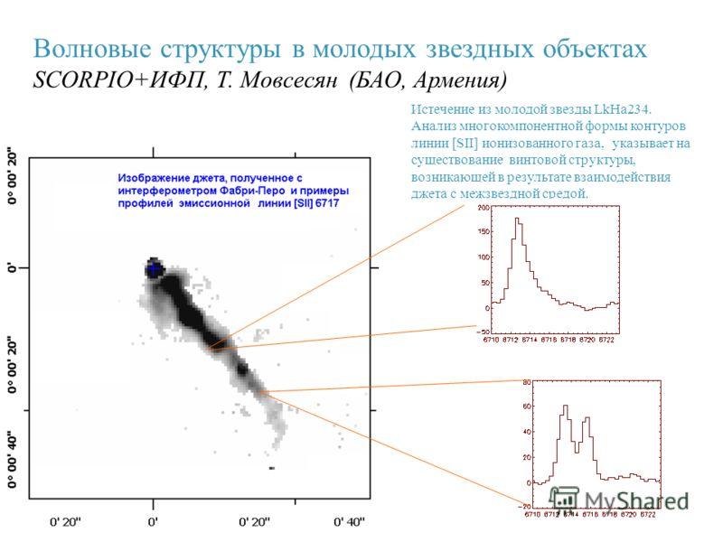 Волновые структуры в молодых звездных объектах SCORPIO+ИФП, Т. Мовсесян (БАО, Армения) Истечение из молодой звезды LkHa234. Анализ многокомпонентной формы контуров линии [SII] ионизованного газа, указывает на существование винтовой структуры, возника