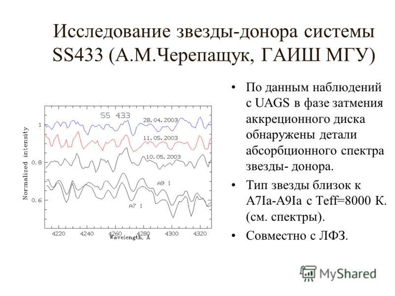 Исследование звезды-донора системы SS433 (А.М.Черепащук, ГАИШ МГУ) По данным наблюдений с UAGS в фазе затмения аккреционного диска обнаружены детали абсорбционного спектра звезды- донора. Тип звезды близок к A7Ia-A9Ia c Teff=8000 К. (см. спектры). Со