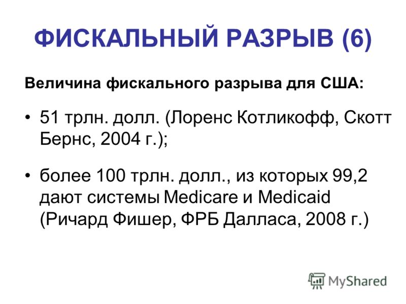 ФИСКАЛЬНЫЙ РАЗРЫВ (6) Величина фискального разрыва для США: 51 трлн. долл. (Лоренс Котликофф, Скотт Бернс, 2004 г.); более 100 трлн. долл., из которых 99,2 дают системы Medicare и Medicaid (Ричард Фишер, ФРБ Далласа, 2008 г.)