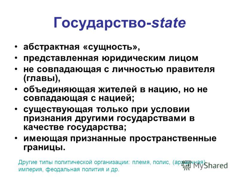 Государство-state абстрактная «сущность», представленная юридическим лицом не совпадающая с личностью правителя (главы), объединяющая жителей в нацию, но не совпадающая с нацией; существующая только при условии признания другими государствами в качес