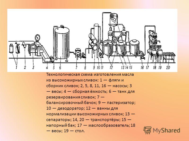 Технологическая схема изготовления масла из высокожирных сливок: 1 фляги и сборник сливок; 2, 5, 8, 11, 16 насосы; 3 весы; 4 сборная ёмкость; 6 танк для резервирования сливок; 7 балансировочный бачок; 9 пастеризатор; 10 дезодоратор; 12 ванны для норм