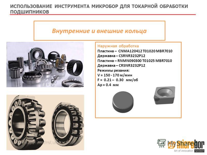 Внутренние и внешние кольца Наружная обработка Пластина – СNMA120412 T01020 MBR7010 Державка – CSRNR3232P12 Пластина – RNMN090300 T01025 MBR7010 Державка – CRSNR3232P12 Режимы резания: V = 150 - 170 м/мин F = 0.21 – 0.30 мм/об Ap = 0.4 мм ИСПОЛЬЗОВАН