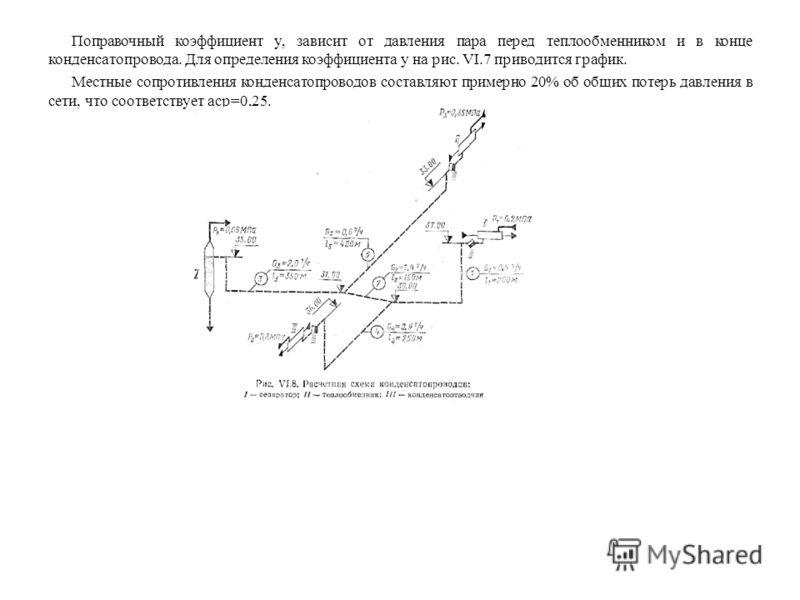 Поправочный коэффициент y, зависит от давления пара перед теплообменником и в конце конденсатопровода. Для определения коэффициента y на рис. VI.7 приводится график. Местные сопротивления конденсатопроводов составляют примерно 20% об общих потерь дав