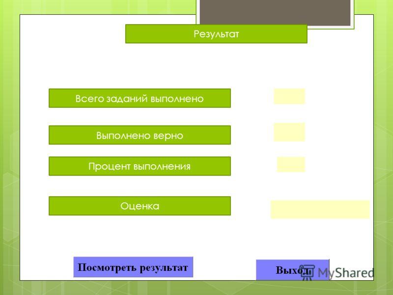 Всего заданий выполнено Результат Выполнено верно Процент выполнения Оценка