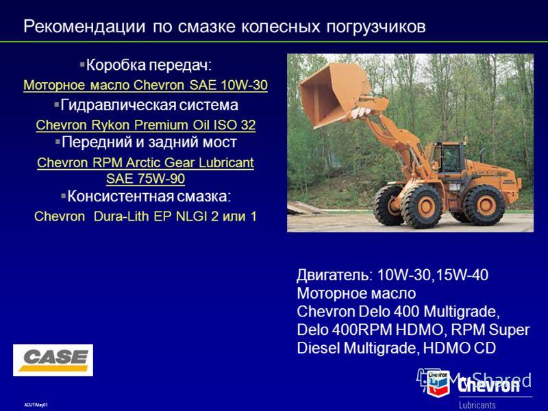 AOUT/May01 Рекомендации по смазке колесных погрузчиков CATERPILLAR Коробка передач: CAT Chevron Drive Train Fluid HD SAE 30(TDTO) Гидравлическая система Моторное масло Chevron SAE 10W-30 (HYDO) Шарнирные соединения Chevron RPM Universal Gear Lubrican