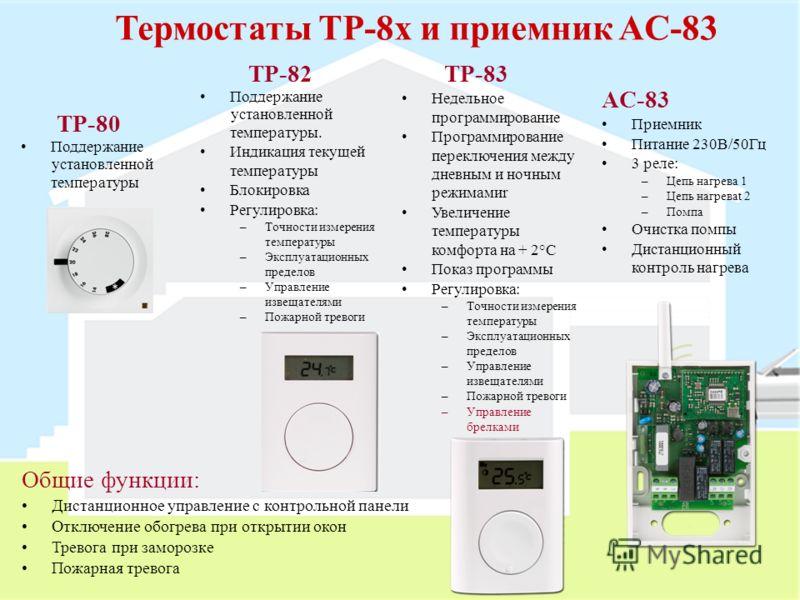 Термостаты TP-8x и приемник AC-83 TP-80 Поддержание установленной температуры TP-82 Поддержание установленной температуры. Индикация текущей температуры Блокировка Регулировка: –Точности измерения температуры –Эксплуатационных пределов –Управление из