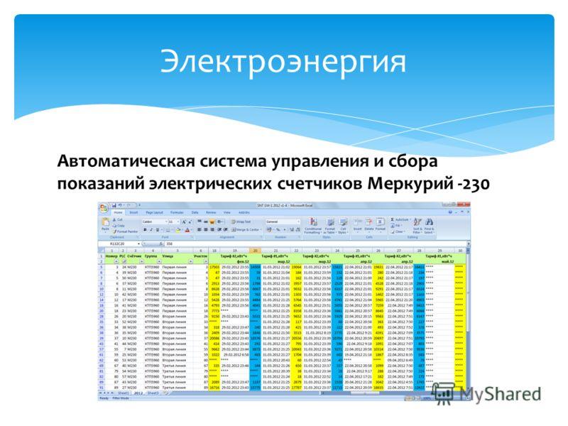 Электроэнергия Автоматическая система управления и сбора показаний электрических счетчиков Меркурий -230