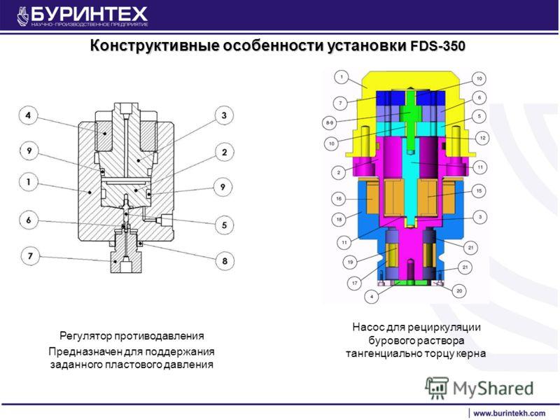 Регулятор противодавления Предназначен для поддержания заданного пластового давления Конструктивные особенности установки FDS-350 Насос для рециркуляции бурового раствора тангенциально торцу керна