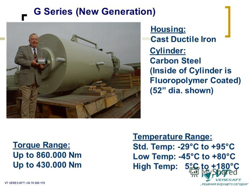 Кожух: Из кованного чугуна Цилиндр: Углеродистая сталь (Внутренняя поверхность цилиндра с фторо- полимерным покрытием Температурный диапазон: Стандартн.: -29°C to +95°C Низк.темп.: -45°C to +80°C Выс.темп.: -20°C to +180°C Моментный диапазон: До 65.0