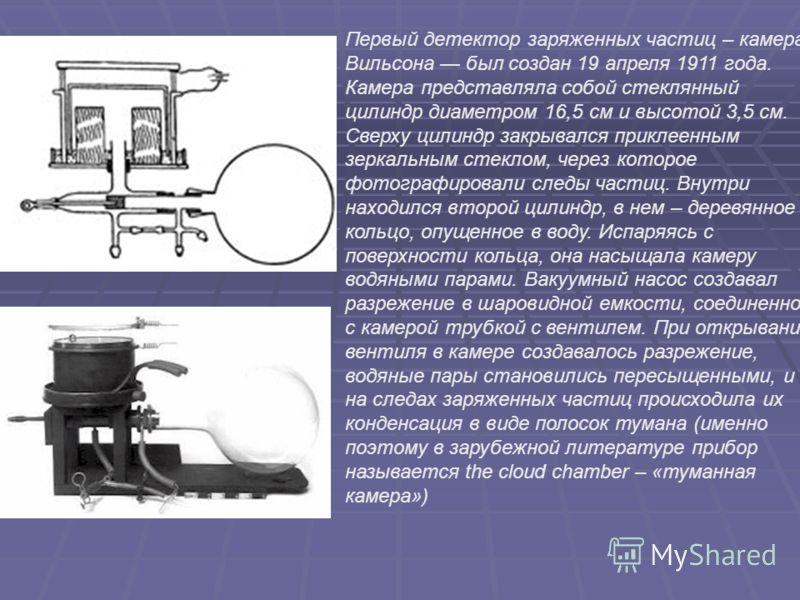 Первый детектор заряженных частиц – камера Вильсона был создан 19 апреля 1911 года. Камера представляла собой стеклянный цилиндр диаметром 16,5 см и высотой 3,5 см. Сверху цилиндр закрывался приклеенным зеркальным стеклом, через которое фотографирова