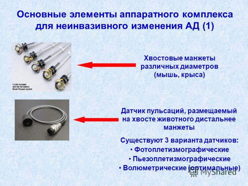 Основные элементы аппаратного комплекса для неинвазивного изменения АД (1) Хвостовые манжеты различных диаметров (мышь, крыса) Существуют 3 варианта датчиков: Фотоплетизмографические Пьезоплетизмографические Волюметрические (оптимальные) Датчик пульс