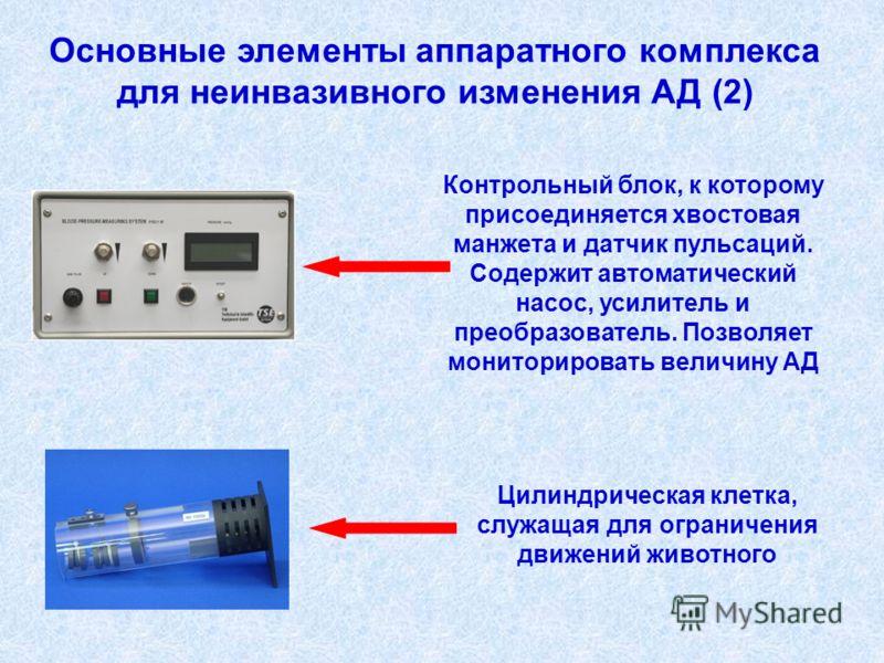 Основные элементы аппаратного комплекса для неинвазивного изменения АД (2) Контрольный блок, к которому присоединяется хвостовая манжета и датчик пульсаций. Содержит автоматический насос, усилитель и преобразователь. Позволяет мониторировать величину