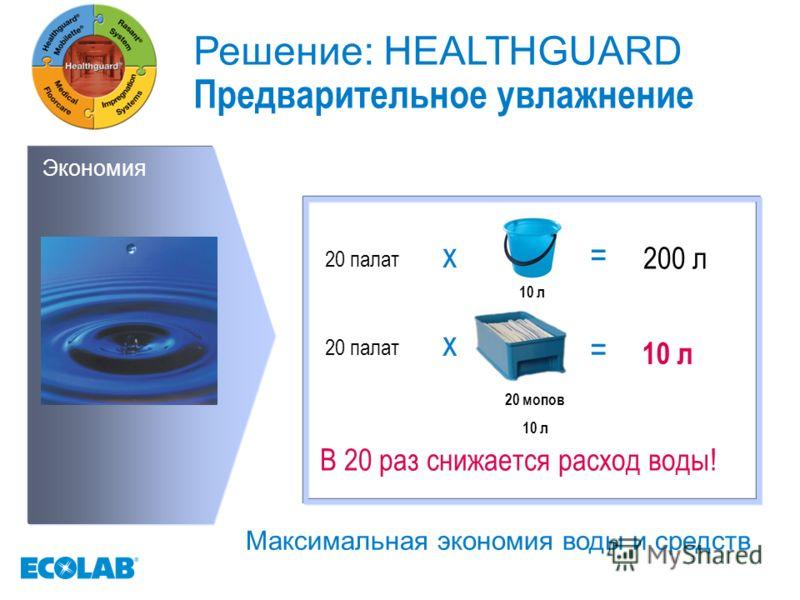 Экономия 10 л 20 палат x= 200 л 20 палат x = 10 л В 20 раз снижается расход воды! 20 мопов 10 л Решение: HEALTHGUARD Предварительное увлажнение Максимальная экономия воды и средств