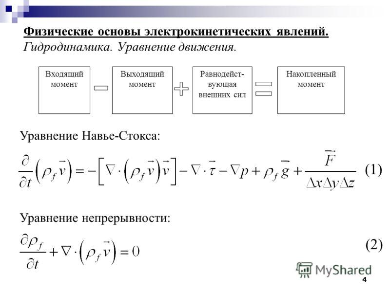 4 Физические основы электрокинетических явлений. Гидродинамика. Уравнение движения. Уравнение Навье-Стокса: Уравнение непрерывности: (1) (2) Входящий момент Выходящий момент Равнодейст- вующая внешних сил Накопленный момент
