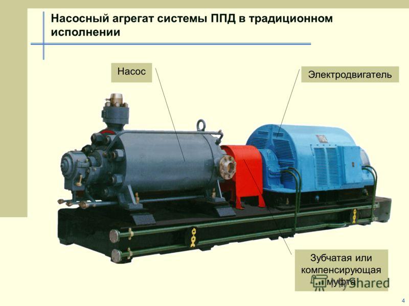 4 Насосный агрегат системы ППД в традиционном исполнении Зубчатая или компенсирующая муфта Насос Электродвигатель