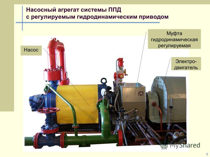 5 Насосный агрегат системы ППД с регулируемым гидродинамическим приводом Насос Электро- двигатель Муфта гидродинамическая регулируемая
