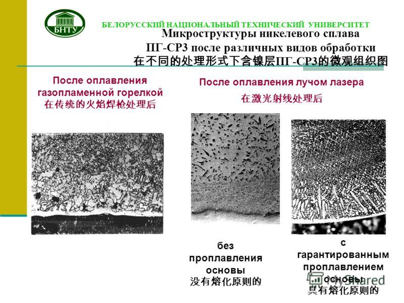 Микроструктуры никелевого сплава ПГ-СР3 после различных видов обработки ПГ-СР3 После оплавления газопламенной горелкой БЕЛОРУССКИЙ НАЦИОНАЛЬНЫЙ ТЕХНИЧЕСКИЙ УНИВЕРСИТЕТ без проплавления основы После оплавления лучом лазера с гарантированным проплавлен