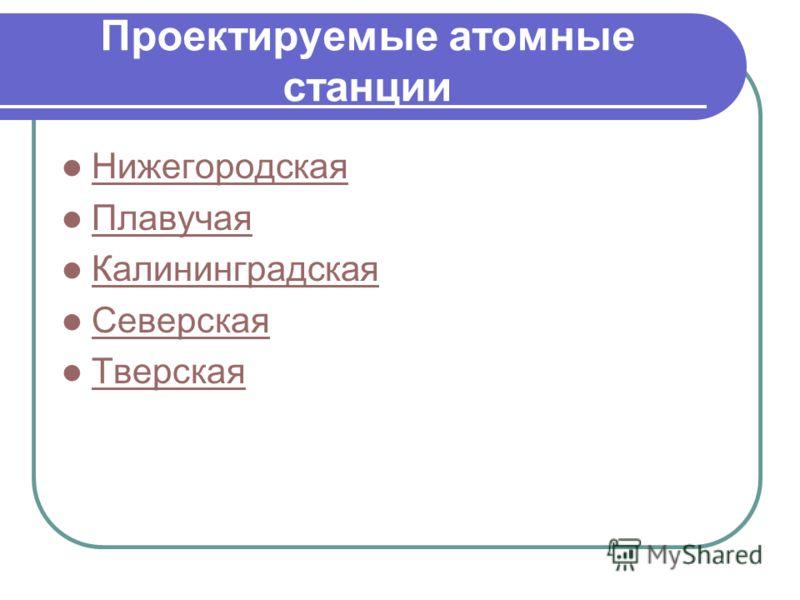 Проектируемые атомные станции Нижегородская Плавучая Калининградская Северская Тверская