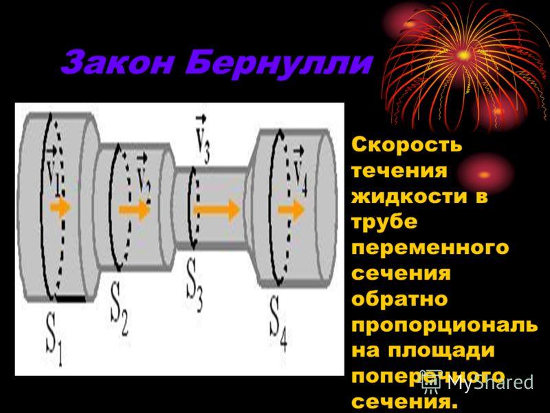 Закон Бернулли Скорость течения жидкости в трубе переменного сечения обратно пропорциональ на площади поперечного сечения.