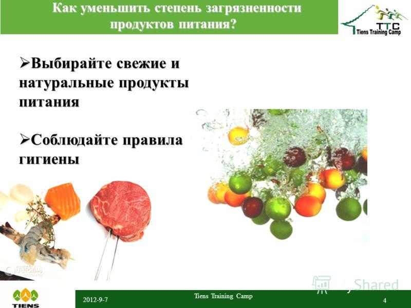 2012-9-7 Tiens Training Camp 4 Как уменьшить степень загрязненности продуктов питания? Как уменьшить степень загрязненности продуктов питания? Выбирайте свежие и натуральные продукты питания Выбирайте свежие и натуральные продукты питания Соблюдайте