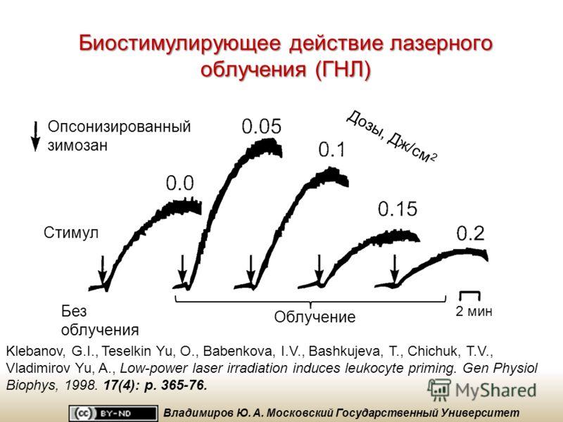Что такое биостимулирующее действие? Пример биостимулирующего действия – активация фагоцитов при вхождении в клетку ионов кальция Malinin, V.S., Sharov, V.S., Putvinsky, A.V., Osipov, A.N. and Vladimirov, Y.A. (1989) Biochemistry and Bioenergetics Ma