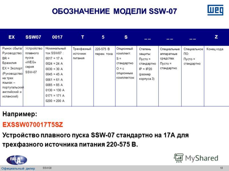 17SSW08 Вход для терморезистора двигателя с положительным температурным коэффициентом ПРИНАДЛЕЖНОСТИ ДЛЯ SSW08 И SSW07 Официальный дилер