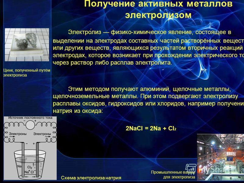 Электро́лиз физико-химическое явление, состоящее в выделении на электродах составных частей растворённых веществ или других веществ, являющихся результатом вторичных реакций на электродах, которое возникает при прохождении электрического тока через р