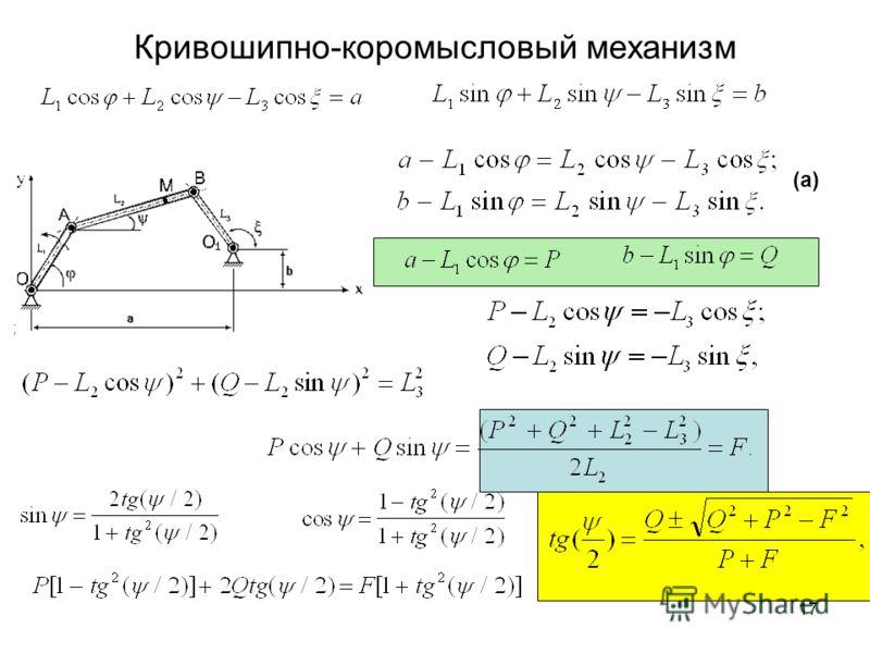 16 Кривошипно-коромысловый механизм O A B L2 L1 O1O1 C1 C2 M L3 X Y C3 b a (a)