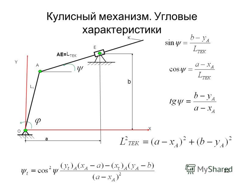 21 Соотношения между угловыми ускорениями для кривошипно-коромыслового механизма Дифференцируем систему уравнений (b) (см. сл. 19) по времени Решаем полученную систему по методу определителей