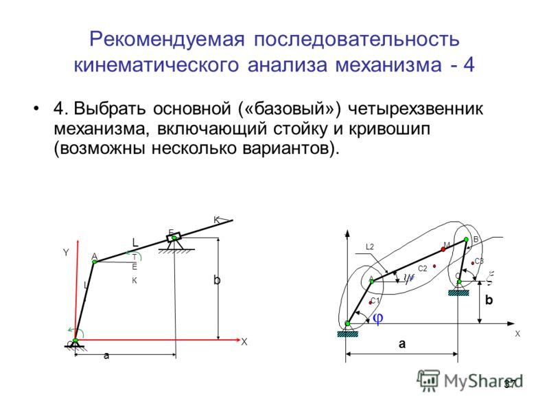 36 Рекомендуемая последовательность кинематического анализа механизма-3 3. Для выбора допустимых соотношений расстояний между осями шарниров, обеспечивающих работоспособность механизма при полном обороте кривошипа, начертить механизм при 8 его положе