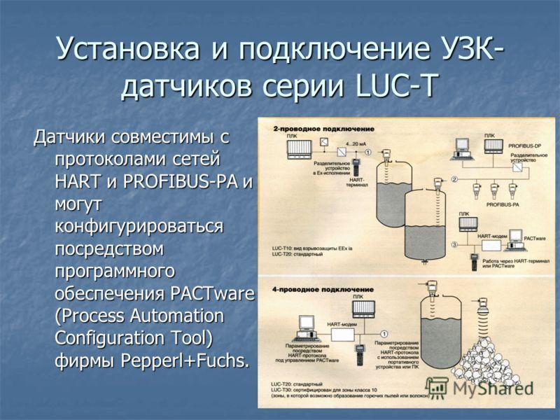 Установка и подключение УЗК- датчиков серии LUC-T Датчики совместимы с протоколами сетей HART и PROFIBUS-PA и могут конфигурироваться посредством программного обеспечения PACTware (Process Automation Configuration Tool) фирмы Pepperl+Fuchs.