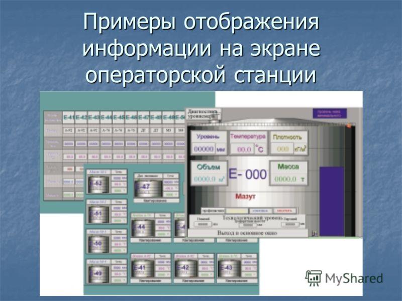 Примеры отображения информации на экране операторской станции