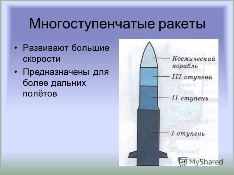 Многоступенчатые ракеты Развивают большие скорости Предназначены для более дальних полётов