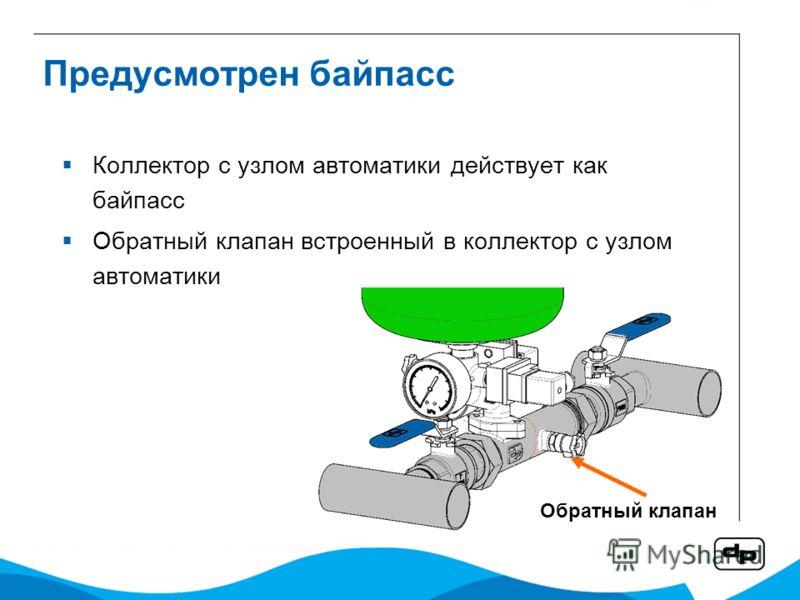 Предусмотрен байпасс Коллектор с узлом автоматики действует как байпасс Обратный клапан встроенный в коллектор с узлом автоматики Обратный клапан