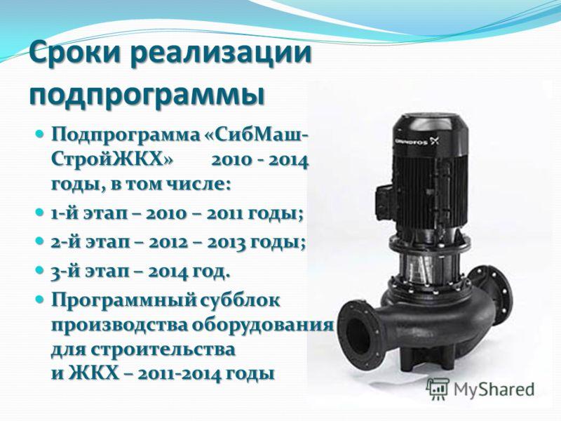 Сроки реализации подпрограммы Подпрограмма «СибМаш- СтройЖКХ» 2010 - 2014 годы, в том числе: Подпрограмма «СибМаш- СтройЖКХ» 2010 - 2014 годы, в том числе: 1-й этап – 2010 – 2011 годы; 1-й этап – 2010 – 2011 годы; 2-й этап – 2012 – 2013 годы; 2-й эта